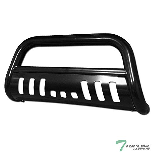 Topline Autopart Black Bull Bar Brush Push Front Bumper Grill Grille Guard With Skid Plate For 07-20 Toyota Tundra / 08-20 Sequoia