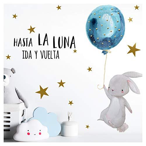 Little Deco Wandtattoo Babyzimmer Hase & Spruch Hasta La Luna I A4-21 x 29,7 cm I Luftballon Rosa Kinderbilder Deko Kinderzimmer Mädchen Aufkleber Sticker DL256
