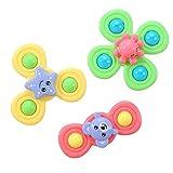 3PCS / Set Kids Spinning Top, Baby Sucker Rotating Rattle Toy, Hand Spinner con ventosa Juguete para aliviar el estrés, Flower Sucker Sound Baby Fun Toy para niños y niñas de 2 a 7 años