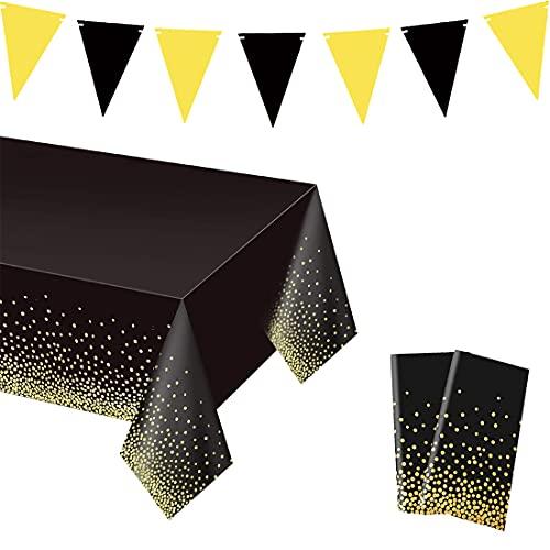 2 Piezas Mantel de Plástico Desechable, Manteles Rectangular de Lunares Negros y Dorados y Bandera Triangular para Bodas Navidad Cumpleaños Picnic (137 x 274 cm)