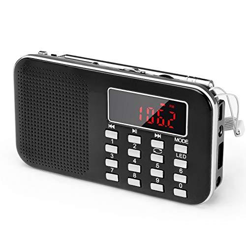 PRUNUS Am FM Radio Pequeña Recargable Digital Bolsillo, J-908 Radio de Portatil con Tarjeta Micro TF Reproductor de MP3 de Entrada Auxiliar de Disco USB(Negro)