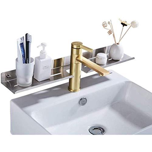Badkamerrekplank, aan de muur gemonteerde badkamer Cosmetische opbergrekplank Speciaal rek voor de verzorgingstafel Geborsteld roestvrij staal Toiletartikelen Opbergrek Metalen badkameraccessoires, 60x9.5x4cm