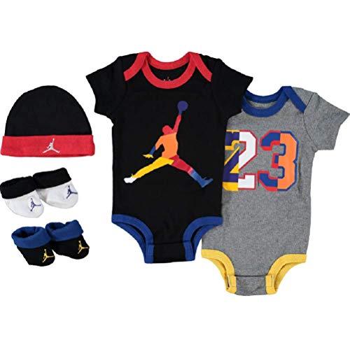 Nike Jordan 5-teiliges Baby-Set, Socken und Stiefel, Body-Anzug-Kappe (0-6 Monate, Jumpman rot/weiß/schwarz) Baby Jungen Mädchen Unisex