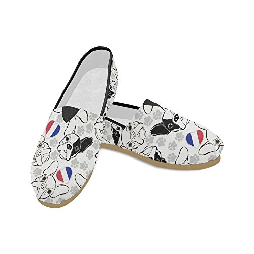 D-Story Fashion Sneakers Flats Cute Pug Bog Women's Classic Slip-on Canvas Shoes Loafers