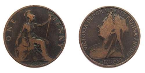 Collectible Coins - Circulated 1895 -1901 British Queen Victoria  Penny Coin / Great Britain