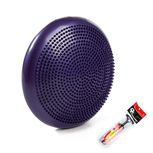 Cajolg Air Stability Balance Disc Wobble-Kissen, für Yoga-Workout, Fitness und Training, mit Luftpumpe, Durchmesser 34 cm Wiggle Balance Sitzpolster,Purple