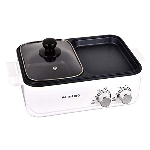 DFBGL Máquina de cocción de Olla Caliente eléctrica portátil para el hogar, Olla Doble para Barbacoa, Olla de Cocina integrada con Control de termostato Regulable y con Revestimiento Ant