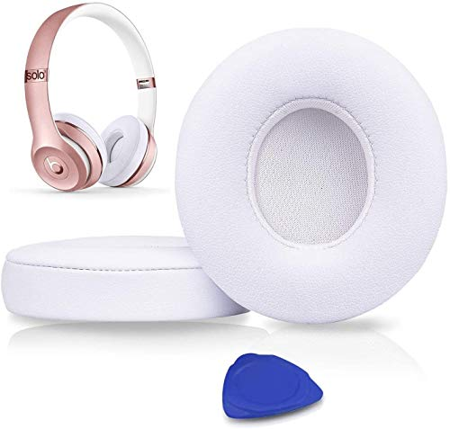Professional Beats Solo Earpads Cushions Replacement - Ear Pads Compatible with Beats Solo2 & Solo3 Wireless On-Ear Headphones with Soft Protein Leather/Strong Adhesive Tape