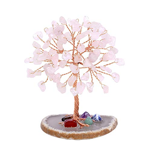 Top Plaza Healing Crystals Tree Rose Quartz Stones Wire Wrapped on Natural Agate Slice Base Home Office Desk Living Room Crystal Money Tree Decor Mini Sized