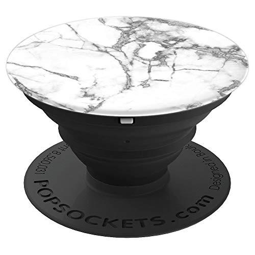 ILLUSTRATION GEDRUCKT Weißes-Marmor-Marble-Grau - PopSockets Ausziehbarer Sockel und Griff für Smartphones und Tablets