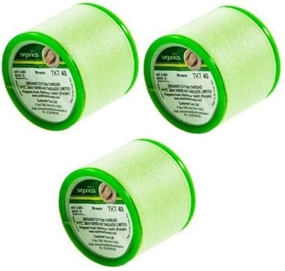 Lot de 3 bobines de fil Organica | Fil de fil en coton bio bio | Fils de coton antibactérien | Épilation du visage