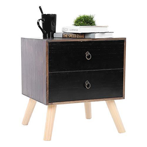 Greensen Holz Beistelltisch Nachttisch mit 2 Schubladen Sofatisch Nachtkommode Nachtschrank mit Holzbeine Vintage Couchtisch Schlafzimmermöbel Schubladenschrank Nachtschrank Kommode