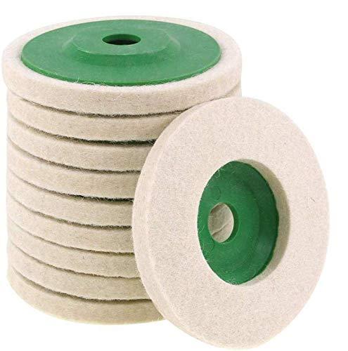 CviAn 10pcs Wear-Resistant Angle Grinder Wheels Buffing Pads Wool Buffing Angle Grinder Wheel Felt Polishing Disc Grinding Head Buffing Wheel Polishing Pad Wet Polishing Wheel Set
