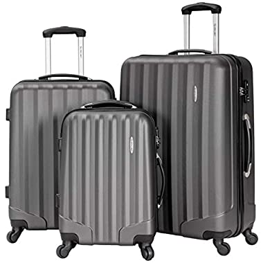 Lightweight 3 Piece Luggage Sets,Durable Hardshell Spinner Suitcase with TSA Approved Locks