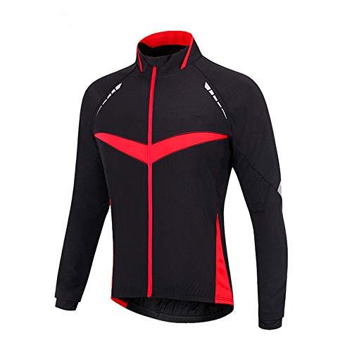 d.Stil Chaqueta de ciclismo para hombre, resistente al viento, impermeable, para bicicleta de montaña, reflectante, forro polar, tallas S-2XL, Hombre, negro rojo, medium