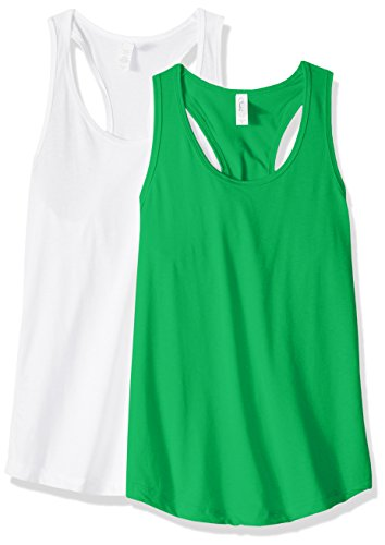 Clementine Apparel Women's Petite Plus Ideal Racerback Tank Tops (Pack of 2), Kelly Green\White, L