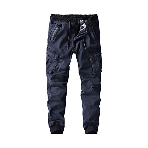 Katenyl Pantalones Cargo con Costuras a la Moda con pies de Haz para Hombre, Ropa de Calle Informal con Bolsillo Relajado, Pantalones Regulares con Botones 29