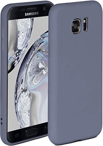 ONEFLOW Soft Hülle kompatibel mit Samsung Galaxy S7 Hülle aus Silikon, erhöhte Kante für Displayschutz, zweilagig, weiche Handyhülle - matt Blau Grau