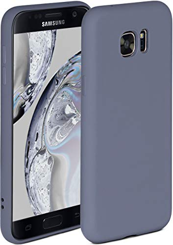 ONEFLOW Soft Case kompatibel mit Samsung Galaxy S7 Hülle aus Silikon, erhöhte Kante für Bildschirmschutz, zweilagig, weiche Handyhülle - matt Blau Grau