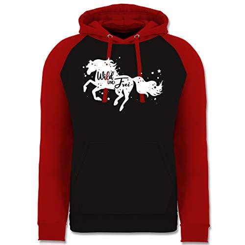 Shirtracer Pferde - Wild und Frei Pferdemotiv - XL - Schwarz/Rot - Fun - JH009 - Baseball Hoodie