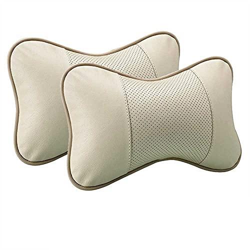 MIOAHD Almohadas para el Cuello del Coche Protector de Soporte para la Cabeza de Cuero Genuino Accesorios para el Interior del cojín del Respaldo del reposacabezas Universal