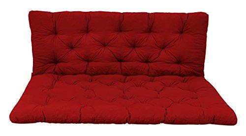 Ambientehome palletkussen met rugleuning, zitkussen 120 x 80, rugkussen 120 x 60 cm, voor binnen en buiten 120x80x8 cm rood