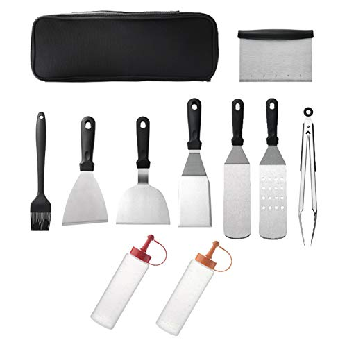 Galapara 10PCS Grill Tools Kit with Carry Case Stainless Steel Cooking Utensil BBQ Barbecue Accessories Spatula Basting Brush Bottle