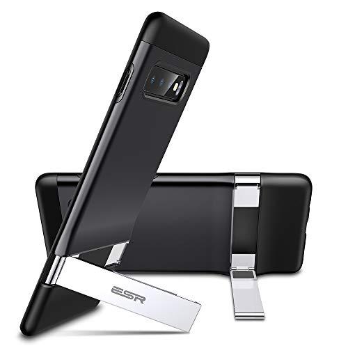 ESR Metal Kickstand Funda para Samsung Galaxy S10 Plus, [Soporte Vertical y Horizontal] Respaldo para PC con Parachoques de TPU Flexible para Samsung S10 Plus, Negro