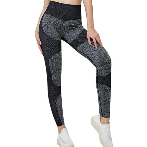 QTJY Leggings sin Costuras para Mujer Fitness Pantalones de Yoga de Cintura Alta Push-ups Caderas Leggings para Correr Fitness Leggings Deportivos AS