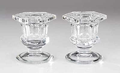 Darice Clear Glass Taper Candle Holders: 2.25 inches Tall, 2 Pack Votive, 0