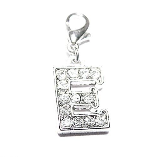 AKKi jewelry Charm Buchstaben Alphabet Anhänger Silber Charms Charmed Club für bettel - Armband Kette Swarovski Kristalle karabina E