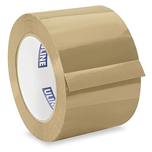"ULINE Industrial Shipping & Packing Tape 3"" x 110 Yards 2.0 Mil - Tan (4 Pack)"
