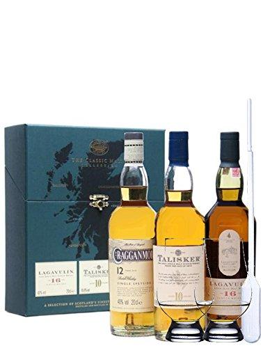 Classic Malts Collection Strong 3 x 0,2 Liter + 2 Glencairn Gläser + Einwegpipette 1 Stück