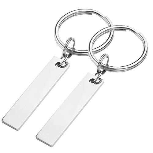 Zysta Free Engraving - Personalized Custom 2pcs/Set Silver Stainless Steel Rectangle Pendant Keychain Key Ring His and Hers Valentines Gift for Lovers Couples