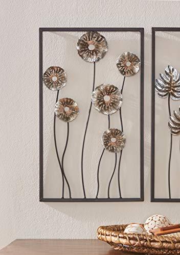 3D Wandbild Blumen aus Metall, 30x50 cm, Wandschmuck, Wanddeko, Wandverzierung, Deko-Objekt