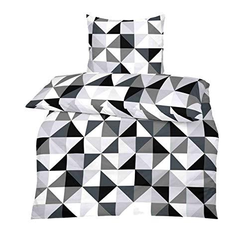 S.Ariba TOP Beddengoedset in vele kwaliteit en maten met RV in meer dan 30 verschillende patronen (Gray White, 135x200cm Microfiber 2-delig)