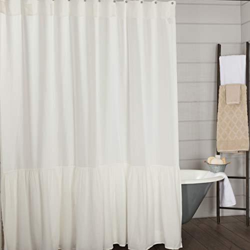 Annabelle Duschvorhang mit hohem Rüschen, 183 x 183 cm, antikes weiches Weiß, Landhaus-Chic-Stil, Badezimmer-Dekor