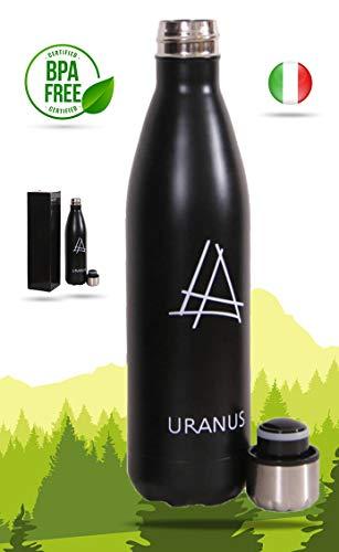 AF-Uranus Borraccia Termica, Ecologica - Bottiglia Acciaio Inox, 750ml, Doppia Parete, Sottovuoto, Senza BPA, Antigoccia - Borracce per Bambini, Bici, Palestra, Sport, Scuola, Yoga, Lavoro.