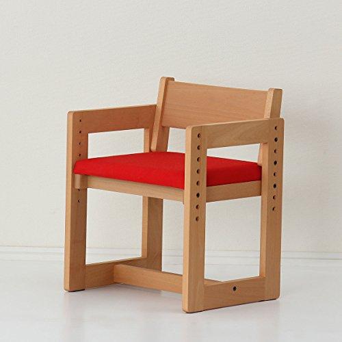 国産家具認定商品2021年度版女性視点でデザインされた木の学習チェアMUCMOC(ムックモック)赤