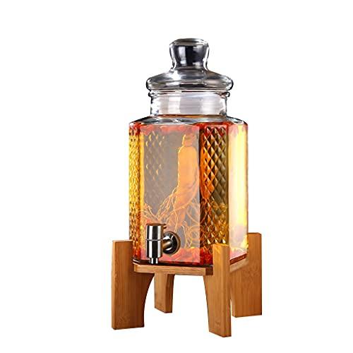 WLN Ginseng Engrosado De Vino Medicinal Cubeta De Hielo Alabar La Botella De Vino Ginseng Jarra De Vino Sellado Alto Borosilicate 5l Grifo De Acero Inoxidable+Base De Bambú Alto