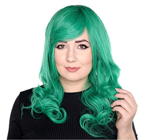 Prettyland Verde de pelo largo 60 cm peluca rosa rizado onda cosplay peluca C1218
