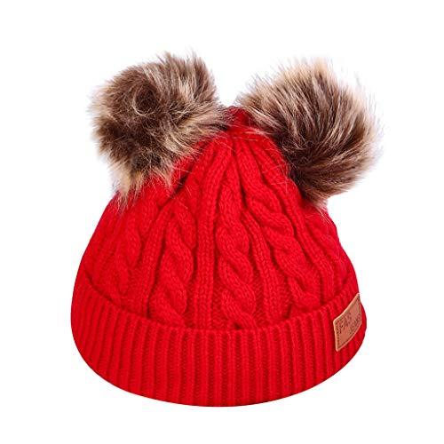 SOMESHINE Women Knit Slouchy Beanie Chunky Baggy Hat with Faux Fur Pompom Winter Soft Warm Ski Cap(Red,Free Size)