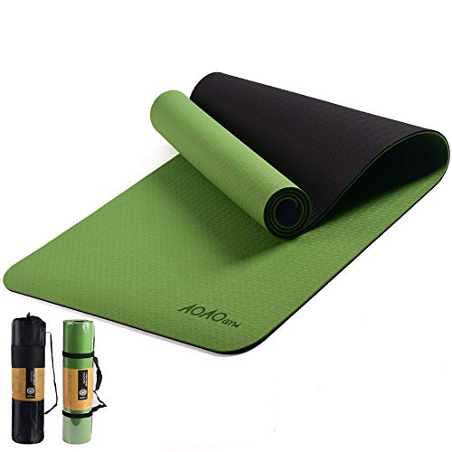 AOAOGYM Yoga Mat Fitness amp Exercise Mat with EasyCinch Yoga Mat Carrier Strap,TPE Grass Green  Black