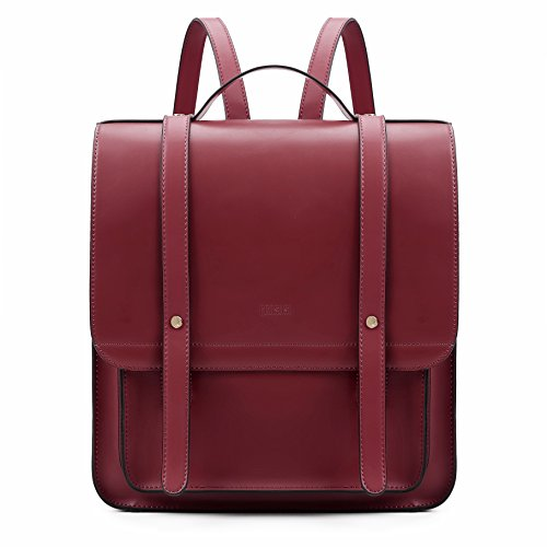 ECOSUSI Satchel Backpack for Women Soft PU Leather 14' Laptop School Rucksack Casual Daypack with Small Purse