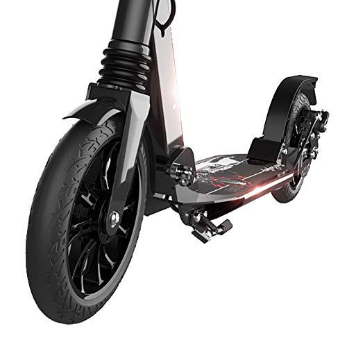 Patinetes clásicos Scooter Adulto Ajustable Negro con Doble suspensión, Patinete Plegable con Ruedas Grandes para Adolescentes de 12 años de Edad, Capacidad de Peso de 220 LB