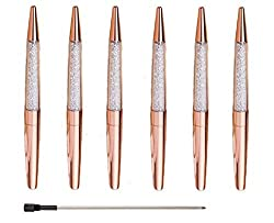 Set of Six Rose Gold Black Ink Pens W/Refills on Amazon for $10.99