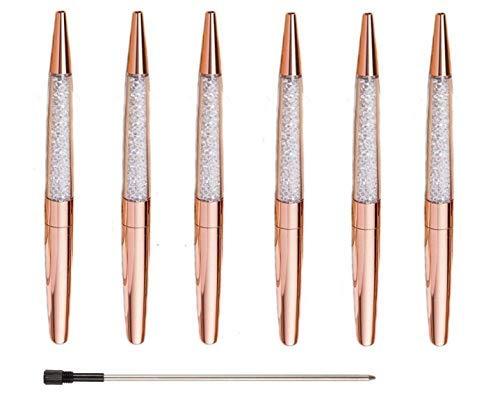 Ubabe Rose Gold Pen Bling Diamond Pens Fine Black Ink Pen-6 Pack and 6 Extra Refills (Rose Gold Metal Pen 6 Pack)