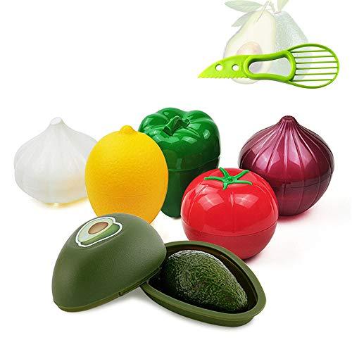 KeepingcooX - Juego de 6 protectores para alimentos (forma de verdura, cuchara, aguacate, pimienta, grano, limón, tomate, plástico duro, reutilizable, con cierre hermético y orificios de ventilación)