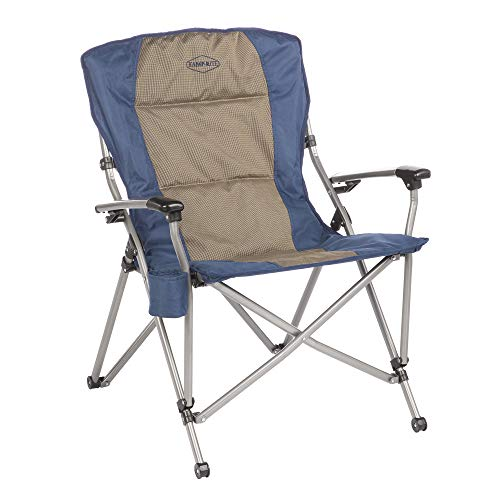 Kamp-Rite KAMPCC153 Soft Padded Hard Arm Outdoor Camping Folding Chair with Cupholder, Blue & Tan