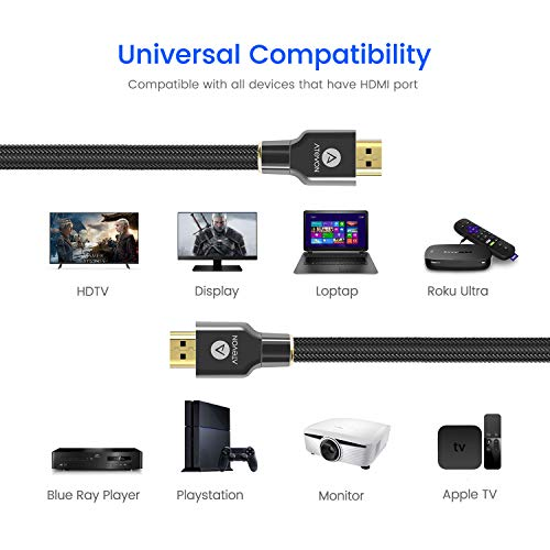 4K HDMI Cable 10 ft - Atevon High Speed 18Gbps HDMI 2.0 Cable - HDCP 2.2-4K HDR, 3D, UHD 2160P, 1080P, Ethernet - 28AWG Braided HDMI Cord - Audio Return Compatible with TV, Roku, PC, PS4